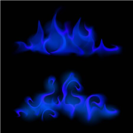 Vector Set of  Different Blue Fire Flame Bonfire  Isolated on Background Иллюстрация