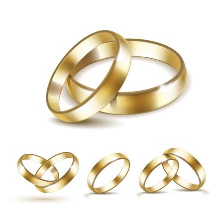 Vector Conjunto de anillos de bodas de oro aislado en el fondo blanco