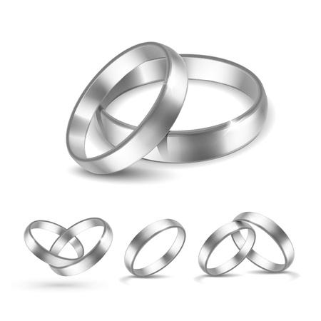 흰색 배경에 고립 된 실버 결혼 반지의 벡터 설정 일러스트