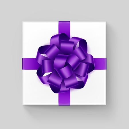 up view: Vector White Square Gift Box with Shiny Purple Violet Ribbon Bow Close up Top view Isolated on Background Illustration