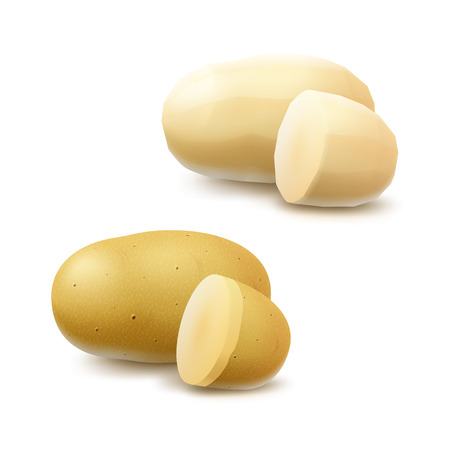 unpeeled: Vector Set of New Yellow Raw Whole Peeled Unpeeled and Sliced Potatoes Close up Isolated on White Background