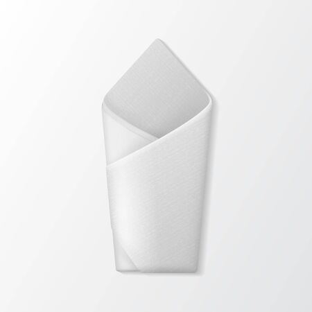 setting table: Vector White Folded Envelope Napkin Top View Isolated on White Background. Table Setting Illustration
