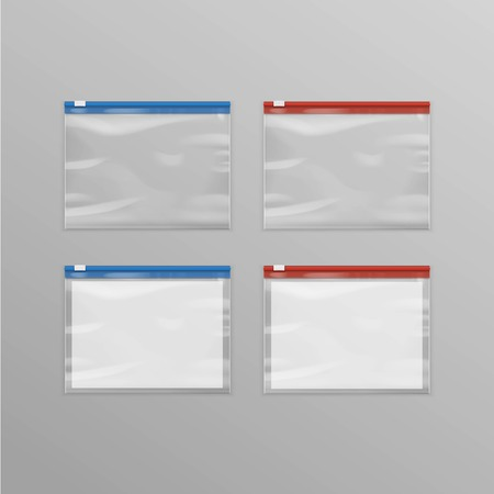 pouch: Vector Set of Red Blue Sealed Empty Transparent Plastic Zipper Bags Close up Isolated on Background
