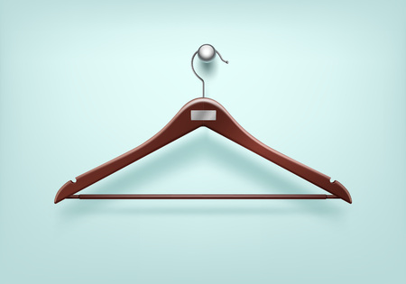clothes hanger: Vector Clothes Coat Wooden Red Hanger with Metal Tag Close Up Isolated on Background