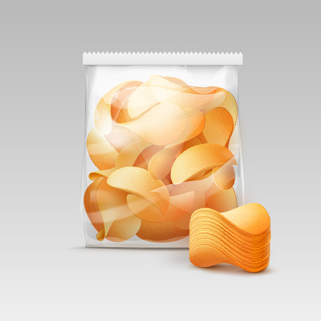 crispy: Vector White Vertical Sealed Transparent Plastic Bag for Package Design with Stack of Potato Crispy Chips Close up Isolated on White Background Illustration