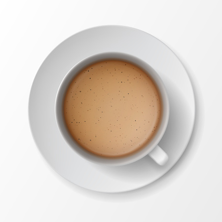 foam: Vector Coffee Cup Mug with Crema Foam Bubbles Top View Isolated On White Background Illustration