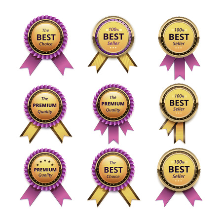 pink ribbons: Vector Set of Top Quality Guarantee Golden labels with Pink Ribbons Close up Isolated on White Background