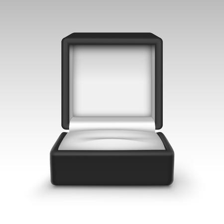 jewelry box: Vector Empty Black Velvet Opened gift jewelry box Close up Isolated on White Background Illustration
