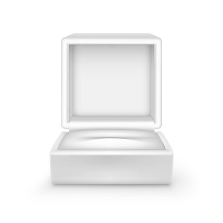 Vector Empty White Velvet Opened gift jewelry box Close up Isolated on White Background