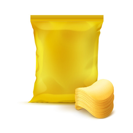 chips stack: Vector Yellow Vertical Sealed Foil Plastic Bag for Package Design with Stack of Potato Crispy Chips Close up Isolated on Background