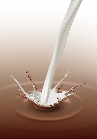 paint splash: Vector Milk Chocolate Splash Stream Flow Close up Isolated on Background