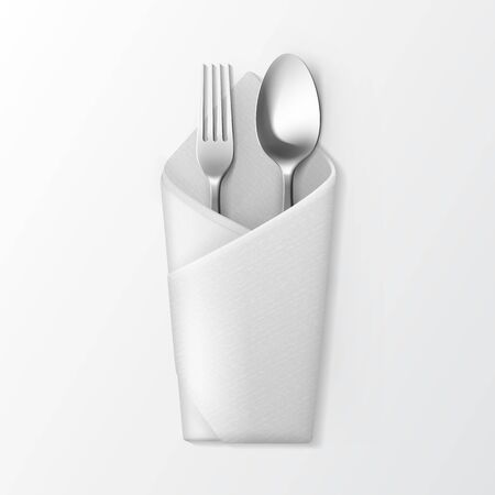 serviette: Vector White Folded Envelope Napkin with Silver Fork and Spoon Top View Isolated on White Background. Table Setting