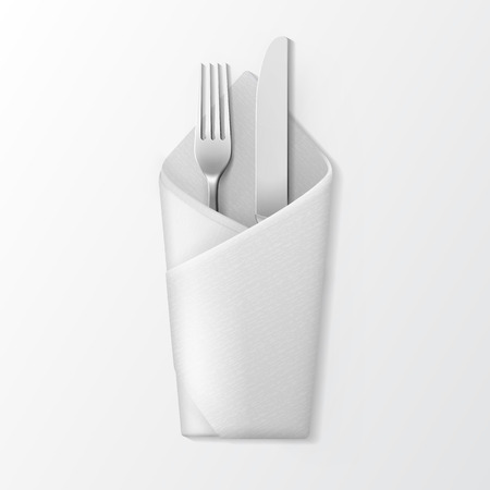 knife fork: Vector White Folded Envelope Napkin with Silver Fork and Knife Top View Isolated on White Background. Table Setting