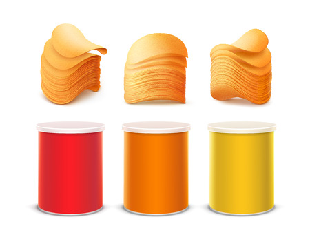 chips stack: Vector Set of Colored Red Orange Yellow Small Tin Box Container Tube for Package Design with Stack of Potato Crispy Chips Close up Isolated on White Background