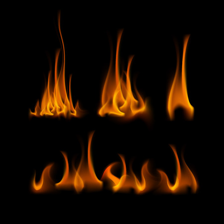 scorch: Vector Set of  Different Yellow Orange Fire Flame Bonfire Isolated on Background