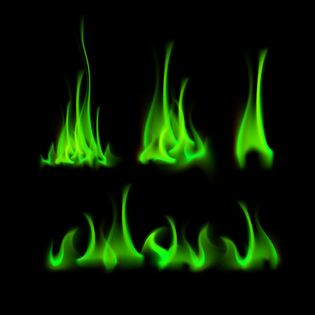 embers: Vector Set of  Different Green Fire Flame Bonfire  Isolated on Background