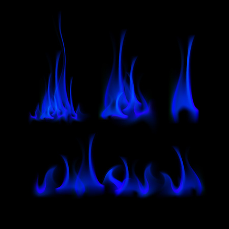 embers: Vector Set of  Different Blue Fire Flame Bonfire  Isolated on Background Illustration