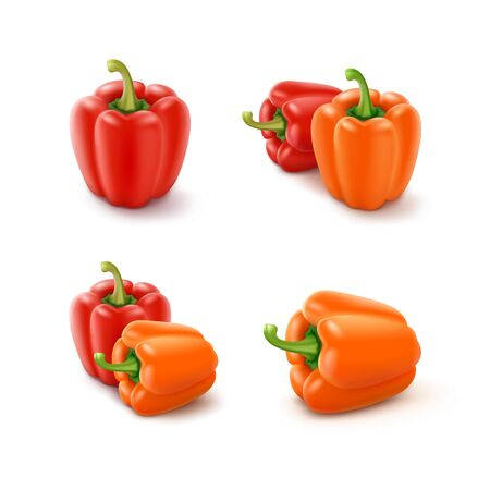 Vector Set of Colored Orange and Red Sweet Bulgarian Bell Peppers, Paprika Isolated on White Background
