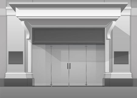 visor: Vector Classic Shop  Boutique Building Store Front with Closed Glass Front Door, Columns, Roof  Visor and Place for Name Isolated on White Background Illustration