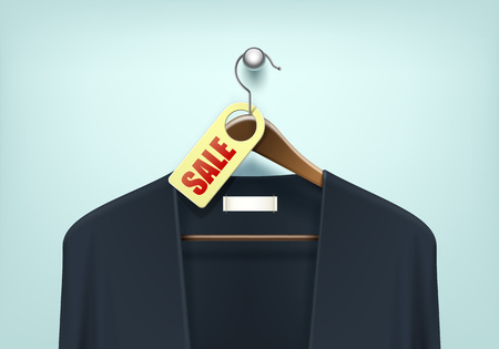 Vector Clothes Coat Brown Wooden Hanger with Blue Black Sweater Cardigan Jumper with Sale Blank Tag Label Close Up Isolated on Background Çizim