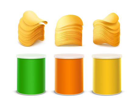 chips stack: Vector Set of Colored Green Orange Yellow Small Tin Box Container Tube for Package Design with Stack of Potato Crispy Chips Close up Isolated on White Background