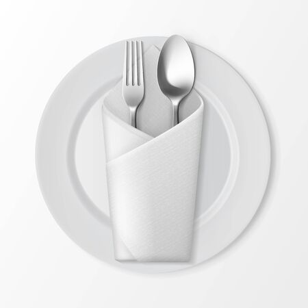 napkin: Vector White Empty Flat Round Plate with Silver Fork and Spoon and White Folded Envelope Napkin Top View Isolated on White Background. Table Setting Illustration