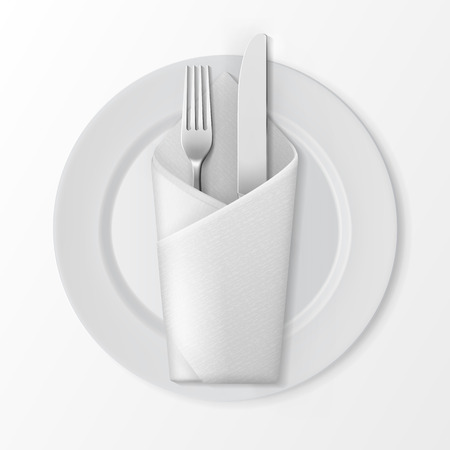 Vector White Empty Flat Round Plate with Silver Fork and Knife and White Folded Envelope Napkin Top View Isolated on White Background. Table Setting Vettoriali