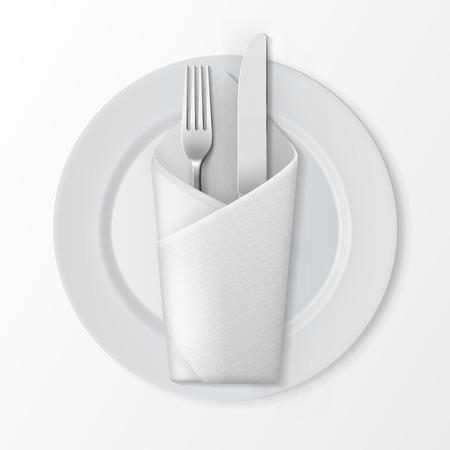 Vector White Lege Flat ronde plaat met Zilveren Vork en Mes en Wit Gevouwen Envelop Servet Bovenaanzicht Geïsoleerd op witte achtergrond. Tafel opstelling Stock Illustratie