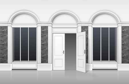 advertising column: Classic Shop Boutique Building Store Front with Glass Windows Showcase, Open Door and Place for Name Isolated on White Background Illustration