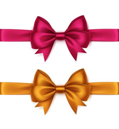 ベクトル設定の光沢のあるオレンジ色ブライト ピンク マゼンタ サテンの弓とリボン トップ ビュー クローズ アップ白背景に分離されました。 ベクターイラストレーション