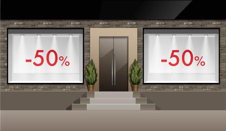 Vector clásico Tienda Boutique Edificio Frente de la tienda con Windows de cristal del escaparate con luz de fondo, descuentos y lugar para el nombre aisladas sobre fondo blanco Ilustración de vector
