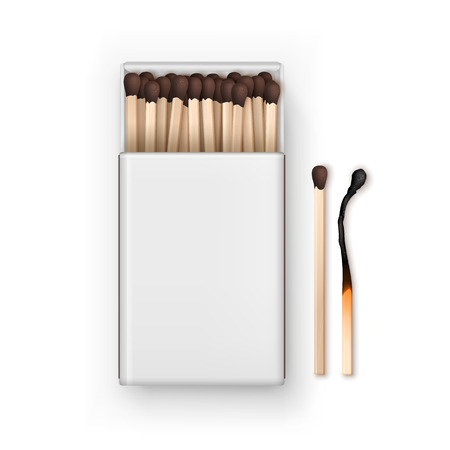 firebug: Vector Opened Blank Box Of Brown Matches with Burned Match Top View Isolated on White Background