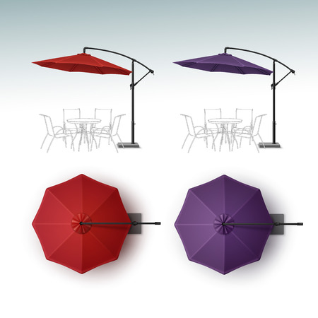 patio set: Vector Set of Red Violet Purple Blank Patio Outdoor Beach Cafe Bar Pub Lounge Restaurant Round Umbrella Parasol for Branding Top Side View Mock up Close up Isolated on White Background