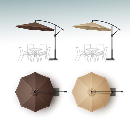 patio set: Vector Set of Brown Beige Blank Patio Outdoor Beach Cafe Bar Pub Lounge Restaurant Round Umbrella Parasol for Branding Top Side View Mock up Close up Isolated on White Background