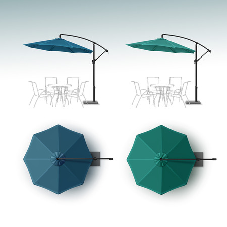patio set: Vector Set of Blue Green Blank Patio Outdoor Beach Cafe Bar Pub Lounge Restaurant Round Umbrella Parasol for Branding Top Side View Mock up Close up Isolated on White Background