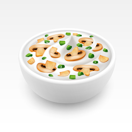 mayonnaise: Bowl of Sour Cream Sauce Tartar Mayonnaise with Chopped Green Onion and Sliced Champignons Close up Isolated on White Background