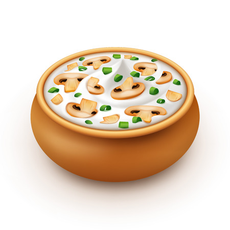 mayonnaise: Ceramic Pot of Sour Cream Sauce Mayonnaise with Chopped Green Onion and Sliced Champignons Close up Isolated on White Background