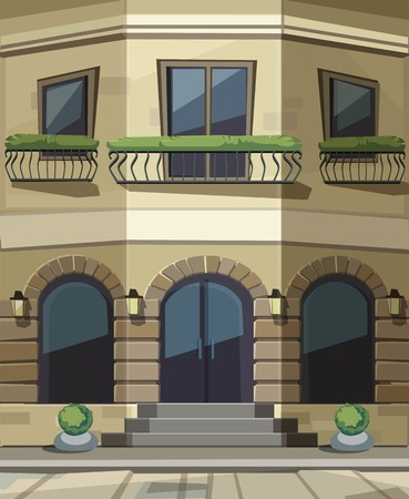 shopfront: Vector Old Europian Shop Boutique Museum Restaurant Cafe Store Front with Big Windows, Place for Name, Greenery, Street Lanterns and Paving Stones Illustration