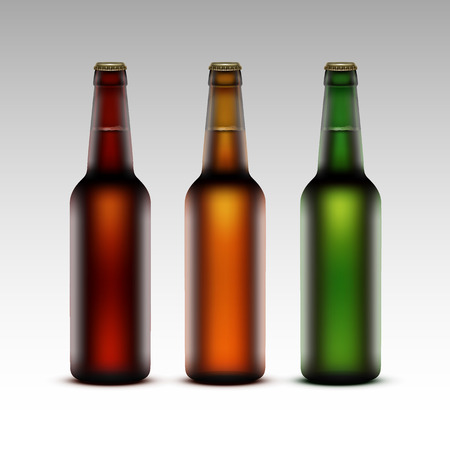 light brown background: Vector Set of  Closed Blank Glass Transparent Brown Red Green Yellow Orange Bottles of  Dark Light Beer without labels for Branding Close up Isolated on White Background