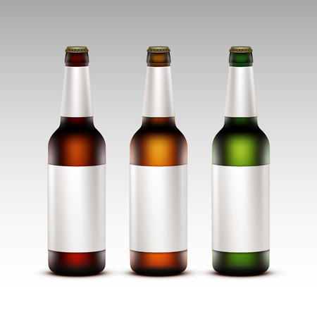 light brown background: Vector Set of  Closed Blank Glass Transparent Brown Red Green Yellow Orange Bottles of  Dark Light Beer with White labels for Branding Close up Isolated on White Background Illustration