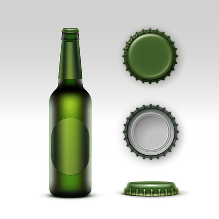 tempting: Vector Closed Blank Glass Transparent Creen Bottle of  Light Beer with Green label and  Set of Caps Side Top Back View for Branding Close up Isolated on White Background