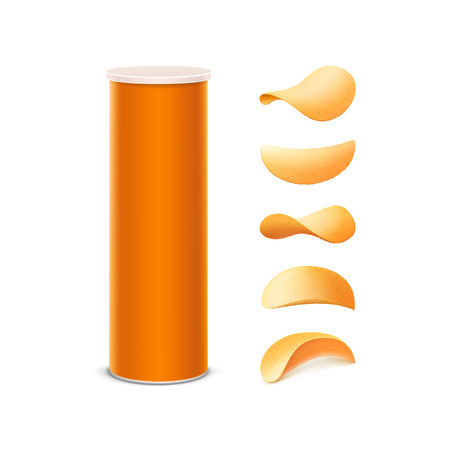 Vector Set of Orange Tin Box Container Tube for Package Design with Potato Crispy Chips of Different Shapes Close up Isolated on White Background Illustration