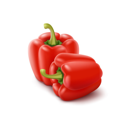 bell peppers: Two Vector Red Sweet Bulgarian Bell Peppers, Paprika Isolated on White Background