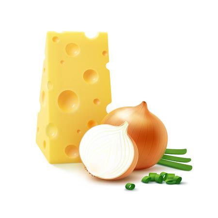 cebolla blanca: Vectorial Triangular pedazo de queso suizo con entera fresca y rebanadas amarillos bulbos de cebolla con las cebollas verdes picadas cerca aisladas sobre fondo blanco cerca aisladas sobre fondo blanco