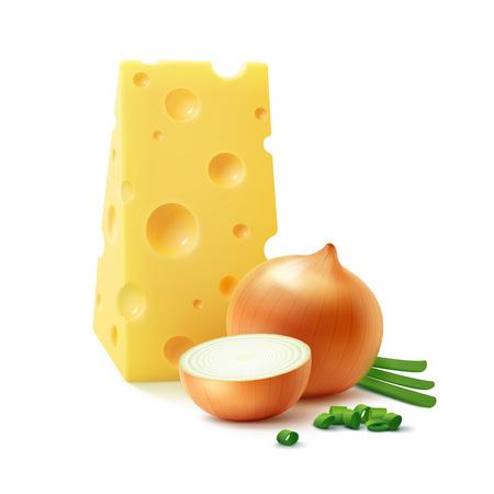 Vector Triangular Trozo de queso suizo con bulbos de cebolla amarilla entera entera y en rodajas con cebollas verdes picadas Cerrar aislado sobre fondo blanco Cerrar aislado sobre fondo blanco