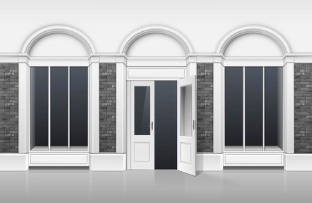 fashion building: Vector Classic Shop Boutique Building Store Front with Glass Windows Showcase, Open Door and Place for Name Isolated on White Background Illustration