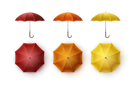 patio set: Vector Set of Yellow Orange Red Blank Classic Opened Round Rain Umbrella Parasol Sunshade Top Front Side View Mock up Close up Isolated on White Background