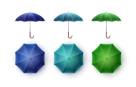 beach side: Vector Set of Blue Turquoise Green Blank Classic Opened Round Rain Umbrella Parasol Sunshade Top Front Side View Mock up Close up Isolated on White Background Illustration