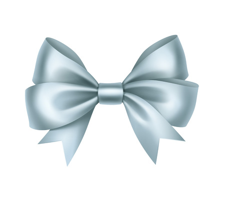 Vector Shiny Light Blue Satin Gift Bow Close up Isolated on White Background Illustration