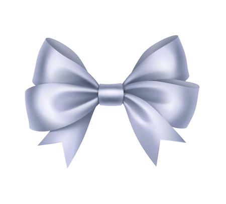 blue bow: Vector Shiny Light Blue Satin Gift Bow Close up Isolated on White Background Illustration
